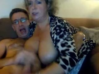 Mature big boobed MILF sucking my dick deepthroat on camera