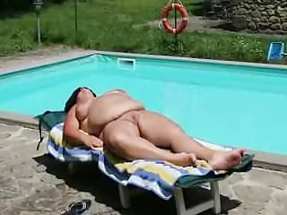 Matured fit together sunbathing