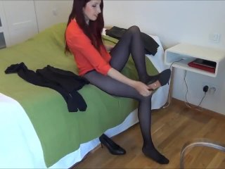 Unexperienced brown-haired switching her stockings in her guest room