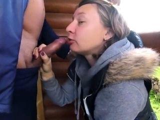 Russian mature duo plumbing outdoor