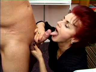 Busty and fine redhead granny is ready to suck dick and fuck