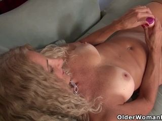 American milf Jacqueline plays take their way nyloned pussy