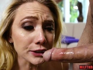 Super-naughty mom deepthroating off with orgasm