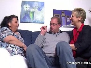 Fat thighed plumper joins in with mature duo