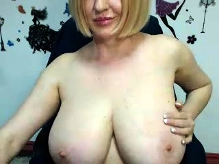 Steaming huge-boobed platinum-blonde mummies in stocking playthings with her muff