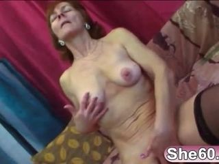 Cock hungry old lady gets her moist vagina drilled with a sex toy and hard young dick