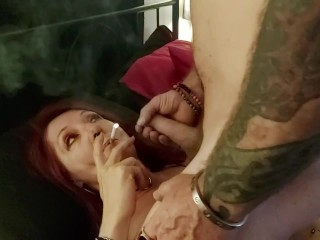 Homemade cougar smoking penis adore + facial cumshot jizz shot