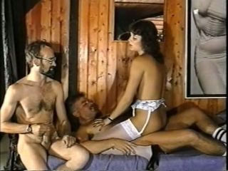 Hardcore cuckold sucks dick of a guy and his wife rides him on top