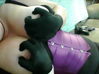 MILF 'Not Wanted on Voyage' Purple Corset & Sat'Not Wanted on Voyage' Gloves effectuation almost grown Tits1