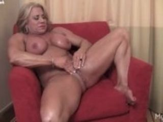 """Blonde mature muscle maven demonstrate her fat clit"""