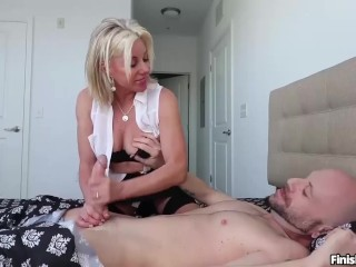 Downcast milf handjob