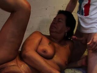 Grandma nailed close to orgy