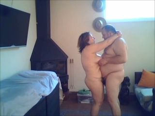 Chubby slut with huge saggy breasts gets fucked by her hubby on camera
