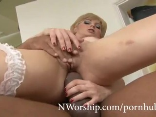 Slutty flaxen-haired Milf Sucking with an increment of shacking up Anal relative to BBC