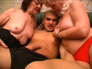 Busty blonde granny and her redhead friend seduce a young man