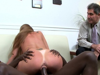 Big-titted mature torn up by big black cock in front of spouse