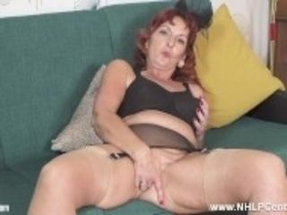 """Randy mature ginger-haired bf Diamonds masturbates in bullet boulder-holder nylons garters heels"""