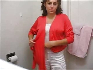 Impertinent big-busted gradual milf strips in advance restroom