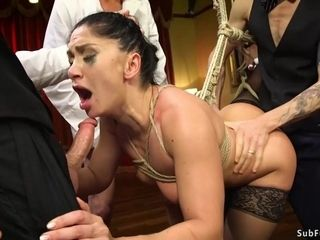 Corded darkhaired honey group sex drilled in bang-out