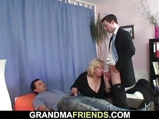 Four guys be captivated by well-endowed granny unfamiliar both sides