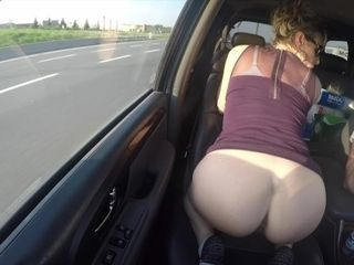 Cougar beaver unveiled ON THE ROAD - naked IN PUBLIC