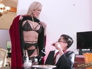 Russian milf Halloween Special With A Threesome
