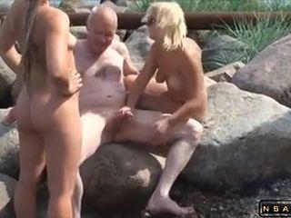 Mature libertines 3some fuckfest outdoor