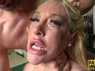 Smashed cougar slave corded up