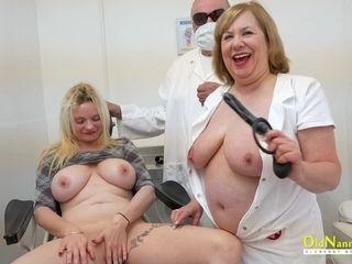 Elder gynecologist and mature nurse Trisha explore coochie of one plus-size patient