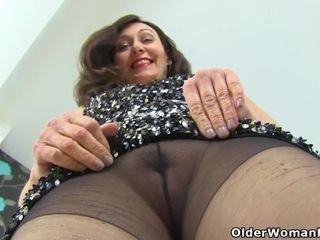 Brit cougar Gemma Gold gets insatiable in sheer stockings