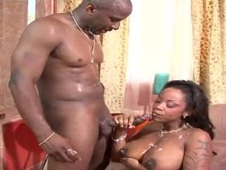 Chocolate mom With large Mammaries Takes A large black cock