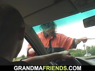 Steaming granny picked up and torn up outside