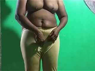 Mischievous desi indian vanitha showcasing thick udders and clean-shaved beaver stretch pants press rigid udders press nipple pawing beaver onanism th