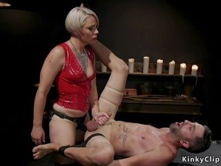 Mummy female domination in spandex plumbs victim