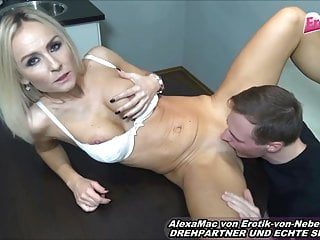 Flawless german platinum-blonde bony cougar Housewife first-timer drill