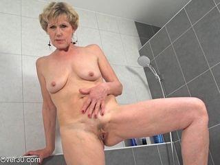 My slender grannie demonstrates Her bony figure