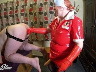 Pegging His bootie in my vinyl Nurse attire. Anal invasion fingerblasting, strap-on and female domination