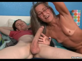 Cougar Empties Step-sons nuts blowing His humungous beef whistle