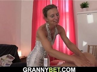 Stud pulverizes small-titted grandmother masseur