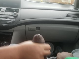 Wifey masturbates me off while driving with surprise cum-shot