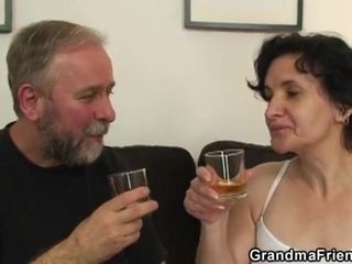 Harsh first-timer Czech grannie humped In 3some