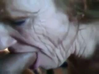 Perverted granny living nextdoor enjoys blowing my fresh dick