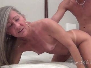 Kinky mature with grey hair likes her poon eaten out by youthfull boys