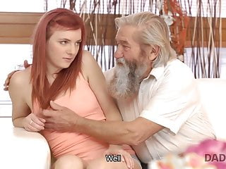 DADDY4K. Chick's shaven cunt is fingerblasted by elderly stud and...