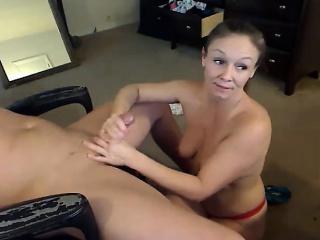 Hot amateur brunette wife gives surprise handjob