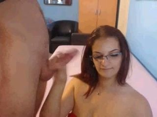 My sex-hungry wife in glasses gives me splendid blowjob and titjob