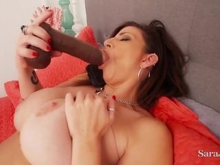 Cougar Sara Jay - big-titted mother draining solo with 2 fucktoys