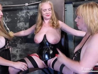 Xxx domination & submission With 3 brit Moms In Leather