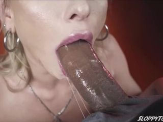 Daisy Stone spits rock-hard and humungous dark-hued penis