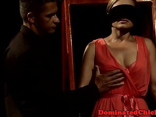 Blinded mature gimp gets her muff pulverized